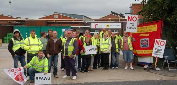 BFAWU Workers picketing Hovis Wigan