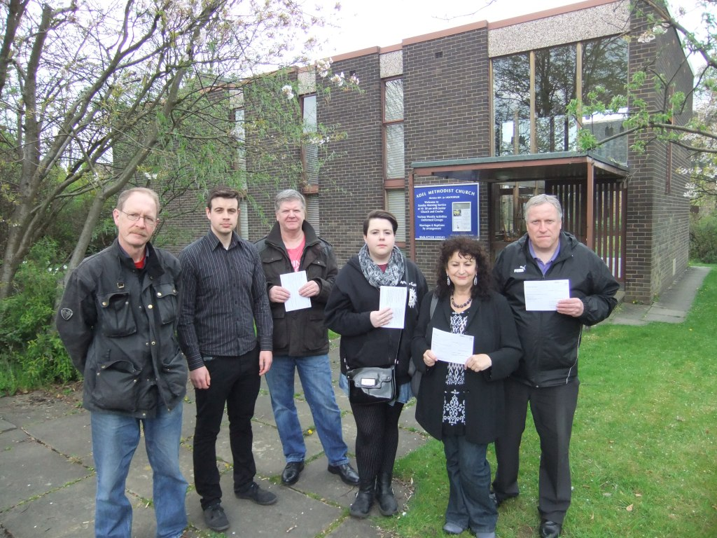 Holt Park Residents campaigning outside the proposed new Polling Station