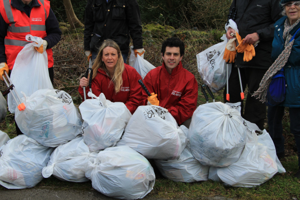 Alex, Julie and other Leeds NW members with the spoils of the Tinshill clean up