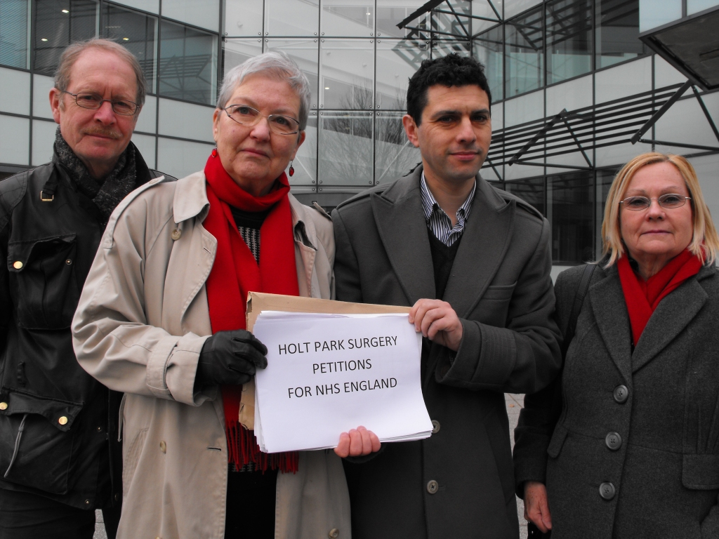 Alex Sobel with Al Garthwaite and members  of Adel and Wharfedale Labour Party deliver petition to NHS England